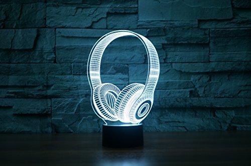 Kopfhörer Hologramm 3d Lampe Nachttischlampe, Nachtlicht fürs Kinderzimmer, LED Lampe fürs Wohnzimmer - 7