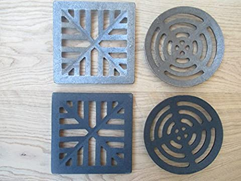IRONMONGERY WORLD® Heavy Cast Iron Gully Grid Grate Drain Cover Drainage guard Gutter Lid Cap (BLACK ANTIQUE 7' CIRCLE/ROUND) by Ironmongery World