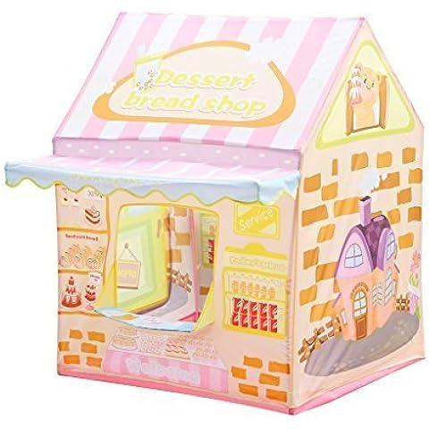 Excelvan 1258 - Carpas para Niños con Timbre de la Puerta (Tienda de Campaña Infantil, Plegable, Juego Campaña Casa), Rosa