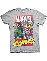 Offizielle Marvel Comics Superhelden Mens Collage Grey T-Shirt - Lose Retro Hulk Iron Man Captain America