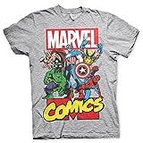 Offizielle Marvel Comics Superhelden Mens Collage Grey T-Shirt - Lose Retro Hulk Iron Man Captain America (XXL)