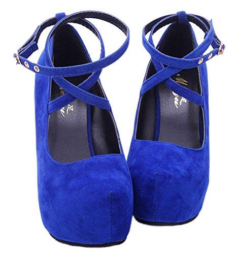 EOZY Chaussure à Talons Haut Aiguille à Lacet Femme Haut Plateau En Pu Cuir Suède Soirée Bleu