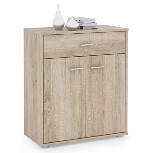 CARO-Möbel Kommode Sideboard Schrank Tommy in Sonoma Eiche, Anrichte mit 1 Schublade und 2 Türen