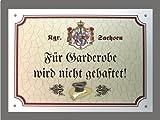Metallschild Garderobe keine Haftung - Schild Sachsen (18 x 14 cm)