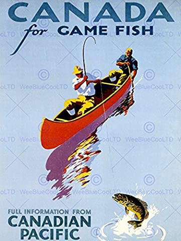 TRAVEL SPORT CANADA FISHING ANGLING CANOE GAME FISH ART PRINT POSTER AFFICHE 30X40 CM 12X16 IN BB7630B