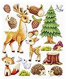 Stickerkoenig Wandtattoo 3D Sticker Wandsticker - niedliche Waldtiere Rehe, Hasen, Igel, Fuchs, Vögel #563 Kinderzimmer Deko auch für Wände, Fenster, Schränke, Türen etc auf Bogen
