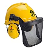 3M PELTOR Forsthelmkombination - Schutzhelm mit Gehörschutz / Gesichtsschutz / Kopfschutz - gelb - Größe: universal