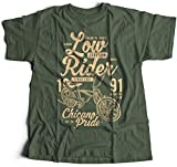 A002-710mg Low Rider Hommes T-Shirt Ride Bike Classic Bicycle Pride Team Retro Vintage(Medium,Militarygreen)