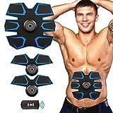 Weijin Elektrischer Muskelstimulation EMS TrainingSgerät Fitness Bauch Massagegürtel Elektrostimulation Fettverbrennung Massage-gerät mit 9 Modi und 20 Intensität Eingestellt und mit Fernbedienung