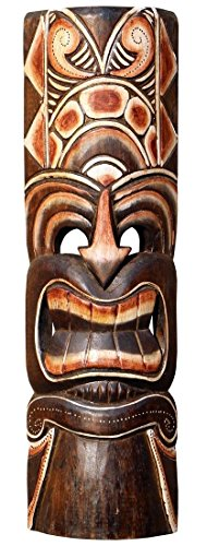 Schöne 50 cm Tiki Holz Maske Neuseeland Maori Wandmaske Handarbeit Bali Maske87