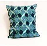 Emma Barclay Miami Chenille Spots Cushion Cover, Teal, 43 x 43 Cm