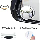 luzway Round de Shape Blind Spot Mirrors, emiup Frameless HD Glass Convex Wide Angle 360° rotatable Adjustable Stick On Rearview for All Car SUV Camiones Motorcycle de 2Pack