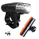 Fukkie Unisex Adult, USB Wiederaufladbare Wasserdicht LED Fahrradlicht Set - Vorder Fahrradbeleuchtung und Rücklicht Fahrradlampe - 4 Licht-Modi für Radfahren, Camping und täglichen Gebrauch