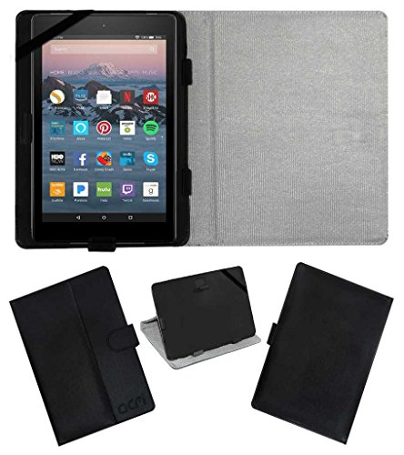 """ACM Leather Flip Flap Case for Amazon Fire Tablet 7"""" Tablet Cover Stand Black"""