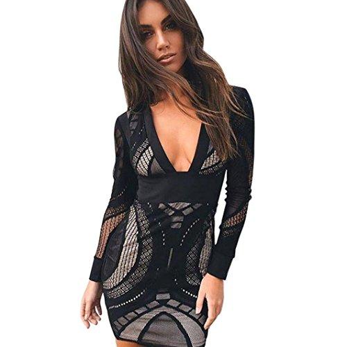 Flirt Neckholder (DOLDOA Damen Kleid, Einfarbig Spitze tiefem V-Ausschnitt Bleistiftkleid PartykleidCocktailkleid (EU: 38, Schwarz,Spitze tiefem V-Ausschnitt Bleistiftkleid))