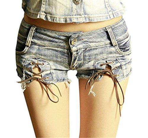 Damen Low Waist Hot Cut Off Junior Trim Night Denim Jeans Shorts kurze Mini heißen Hosen (Denim Mini Junior)