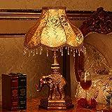 NA Gyy Home Hotel Lighting Chic Elephants lámpara de Escritorio-lámpara de Resina Cuerpo y paño lámpara de sombreado Tipo E27,Pequeño-31 * 49cm