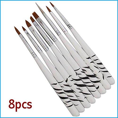 Exultia (TM) 8Pcs Professionelle Zebra UV-Gel-Feder-B¨¹rsten-Nagel-Kunst-Acryl 8 Gr??e Flachpinsel Pen Punktierung Zeichnung Malen Salon-Werkzeug-Set