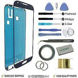 ACENIX® de remplacement pour Samsung Galaxy S4i9500i9505couleur: noir écran brisé Objectif Kit de réparation pour Samsung Galaxy S4i9500/i9505avec 17pièces Kits de remplacement, 1x Rouleau de 2mm Ruban adhésif double face, 1x Rouleau de fil doré molybdène, 1x super Twezzer, 1x chiffon de nettoyage, 1x ventouse de haute qualité avec un tournevis et plastique Pry Outils