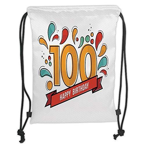string Backpacks Bags,100th Birthday Decorations,Grannies Lived for Centuries 100 Birthday Party Digital Image,Multicolor Soft Satin,5 Liter Capacity,Adjustable String Closure, ()