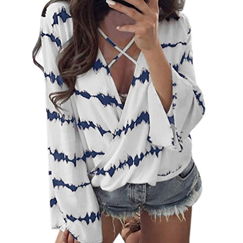 OverDose Frauen lose Langarm Shirt Streifen Tops Überlappend Chiffon-beiläufige Bluse V-Ausschnitt Oberteil (S, A-Blue) (Bestickt T-shirt Langen Ärmeln)