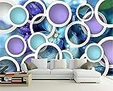 Mbwlkj Benutzerdefinierte Jede Größe Tapete Dekoration Tapete Luxus Wohnzimmer 3D Tapete Lila Kreis Fototapete-200cmx140cm