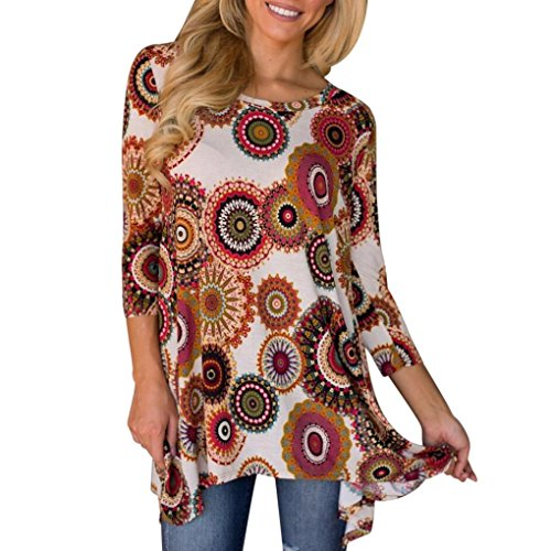 Ularma Damen Boho Unregelmäßig 3/4 Ärmel T-Shirt Rundhals Tunika Bluse Tops (Bunt, L) (Shirt Schwarz Sleeve 3/4)