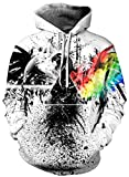 Ocean Plus Herren Kapuzenpullover Lebensecht 3D Grafik Hoodie mit Kängurutasche Pullover mit Kapuze Sweat Hood (S/M (Brustumfang: 112-132CM), A-Tinte Adler)