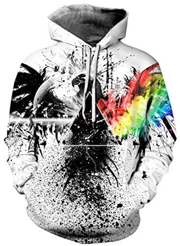 Ocean Plus Herren Kapuzenpullover Lebensecht 3D Grafik Hoodie mit Kängurutasche Pullover mit Kapuze Sweat Hood (L/XL (Brustumfang: 114-134CM), A-Tinte Adler) (Pullover Adler)