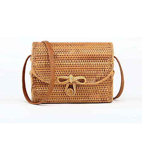 SODIAL 2018 mode Bali Boutique boheme canne d'automne sac tisse a la main papillon carre sac en rotin a boucle Sac a main sac de messager