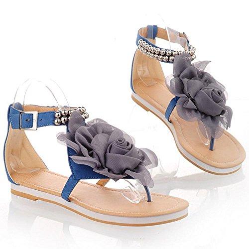 COOLCEPT Femmes Big Fleur Bout rond Tongs Appartements Sandales Confortable Design Bout ouvert Sandales Bleu