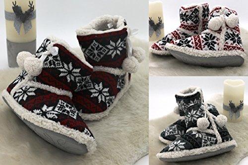 Fashion&Joy Hüttenschuhe Hausschuhe Boots Norweger weiß rot Größe 37 mit Fell & Antirutschsohle bequem mit hohem Tragecomfort liebevoll verarbeitet mit Bommel & Schleife Winter Stiefel Typ372