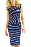Fordestiny Damen Rundhals Knielangkleid ohne Arm Retro gestreift Party Cocktail kleider Pencil dress