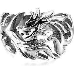 MunkiMix Grande Gran Acero Inoxidable Anillo Ring El Tono De Plata Dragón Tribal Talla Tamaño 15 Hombre
