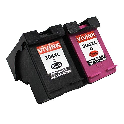 VIVINK 2 cartouches d'encre compatibles para HP 304XL 304 tinta de color negro para HP Deskjet 3700 series 3720 3730 3732 CON INDICADOR DE NIVEL