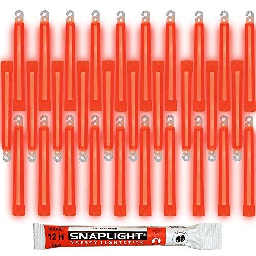 Cyalume Barras de luz roja SnapLight Glow Sticks 15cm, 6 inch Lightstick super brillante con duración de 12 horas (Caja de 30)