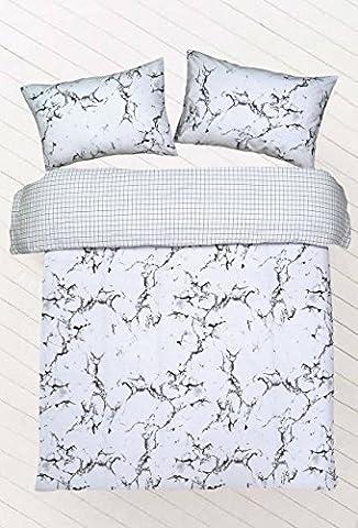 Northern Threadz Ensemble literie, housse de couette à motif marbre, en polycoton, matelassée, assorties de taies d'oreiller, 50 % coton, 50 % polyester, Gris marbré, Simple