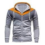 Xmiral Herren Herbst Winter Sweatshirt Lässige Reißverschluss Langarm Spleißen Hoodie Mantel (M,Gelb)