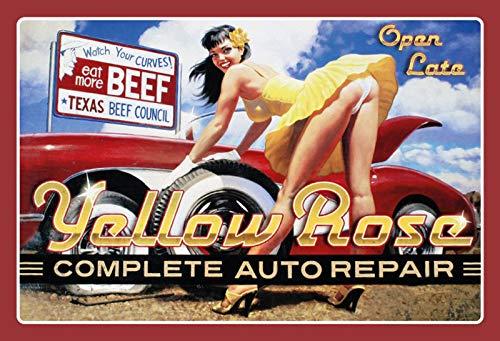 BlechschilderWelt Targa in Metallo Yellow Rose Auto Repair Pinup/Pin up Pneumatici Cambio