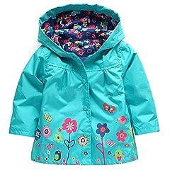 Idea Regalo - QZBAOSHU 2-6 Anni Bambino Giacca Impermeabile con Cappuccio Outwear Pioggia Cappotto delle Bambine e Ragazze (100: misura per altezza 95-100 cm, Blu)
