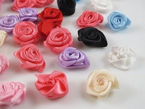 60pcs Satin Ribbon Flower Rose/trim/sewing (Mix) by Applique