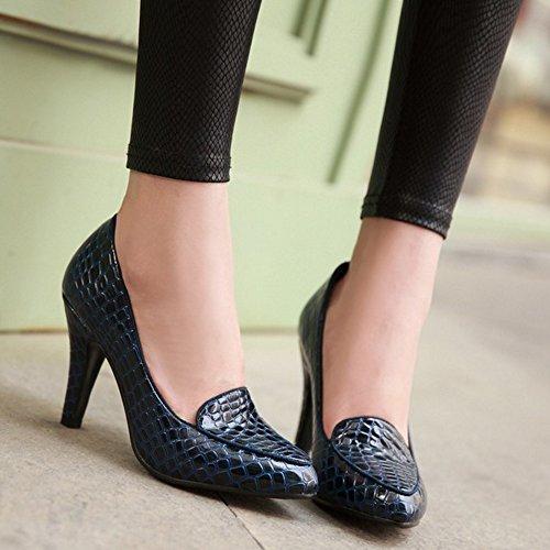 COOLCEPT Femmes Mode Slip On Court Shoes Bout Ferme Escarpins Talon Aiguille Chaussures Bleu