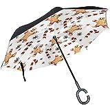 Merle House Frohe Weihnachten Lebkuchen-Plätzchen-Regenschirm-umgekehrter Regenschirm, Winter-Schneemann-Schneeflocke-Süßigkeits-Golf-Regenschirm-winddichtes C-Griff-Regen Sun-Auto