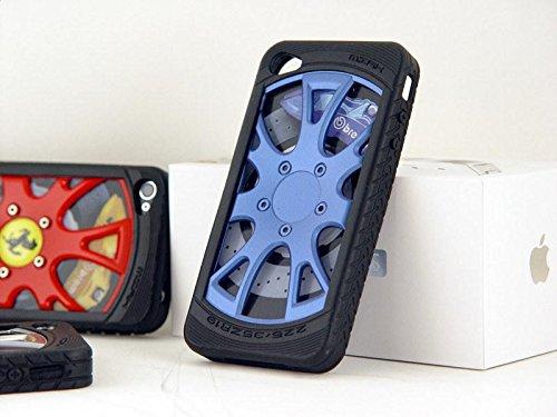 Ronney de roue en alliage de voiture de course 3D Coque bumper pour Apple iPhone 6/6S, Silicone, noir, APPLE IPHONE5/5S/5SE bleu