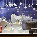 Emwel 2 Pack DIY Fondo Etiqueta engomada del Vidrio de la Pared Etiquetas Temporada Etiquetas extraíble PVC Ventana Adhesivo Pegatinas Decoraciones de la Navidad calcomanía Tienda de decoración
