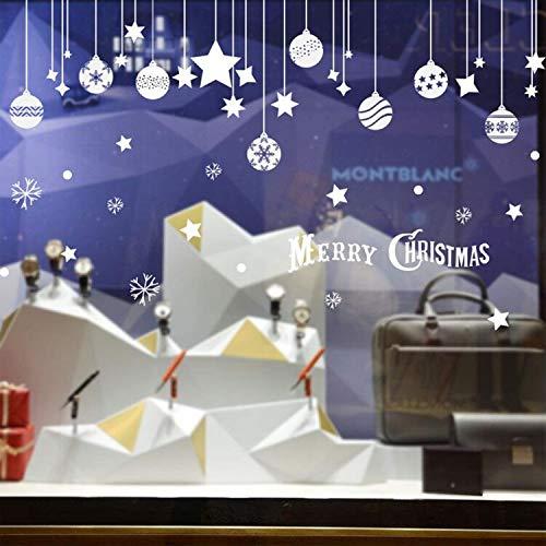 Emwel 2 Stück Weihnachtsdeko Merry Christmas Schaufensterdekoration Weihnachtssticker Wandaufkleber Fenster Aufkleber Engel Bälle Weihnachten Xmas V