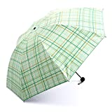 DUHUI Regenschirm-Mode-Klassischer Gitter-Regenschirm dreifachgefaltetes Sonnenschutz-Falten-Beige Grün (Farbe : Beige)