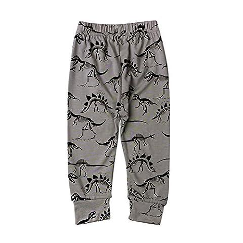 Loveble 1pcs Children Kids Dinosaur Printed Full Length Long Legging Casual Pants Trousers(Grey)