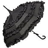 VON LILIENFELD® Regenschirm Damen Sonnenschirm Brautschirm Hochzeitsschirm Pagode Automatik Rüsche Lilly schwarz