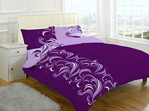 London.bedding JACOB REVERSIBLE MODERN DUVET QUILT COVER SET WITH PILLOW CASES,SINGLE, DOUBLE, KING, SUPER KING (King, Plum)